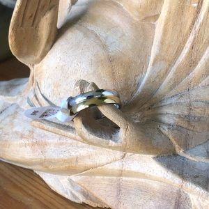 White&Yellow Gold over Stainless Steel Unisex Ring